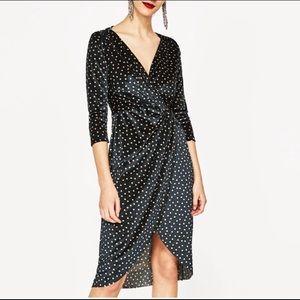 Zara Velvet Polka Dot Dress